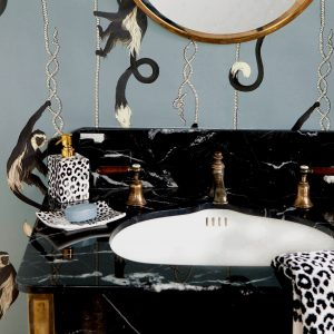 House of Hackney's bestselling art deco Menagerie Wallpaper, £145 per roll
